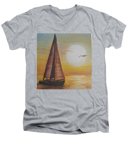 Men's V-Neck T-Shirt featuring the painting Sails In The Sunset by Debbie Baker