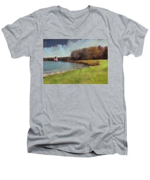 Sails On Lake Wampum Men's V-Neck T-Shirt