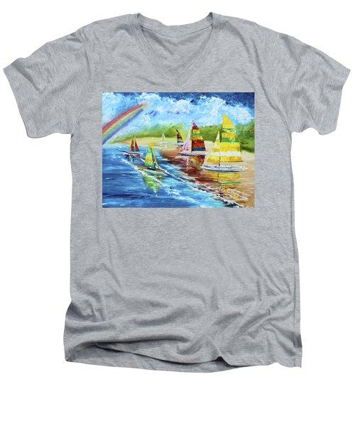 Sails On The Beach Men's V-Neck T-Shirt