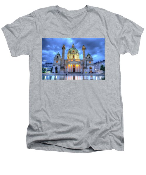 Saint Charles's Church At Karlsplatz In Vienna, Austria, Hdr Men's V-Neck T-Shirt