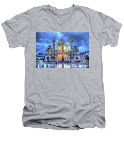 Saint Charles's Church At Karlsplatz In Vienna, Austria, Hdr Men's V-Neck T-Shirt