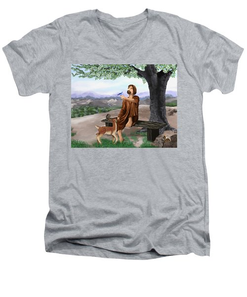 Men's V-Neck T-Shirt featuring the painting Saint Francis by Susan Kinney