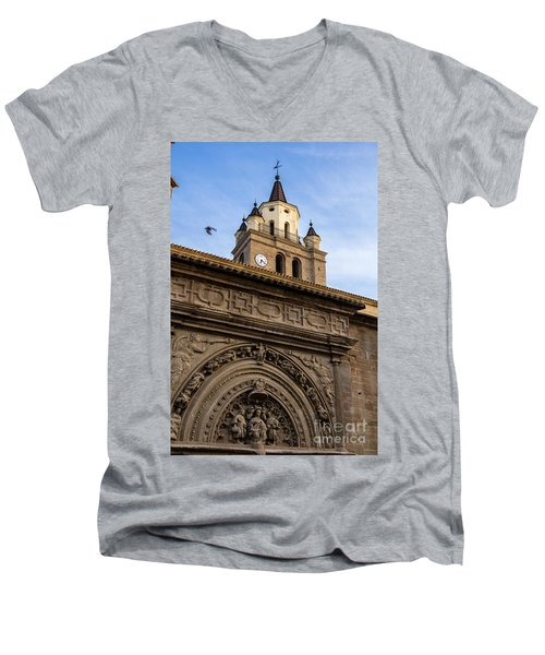Men's V-Neck T-Shirt featuring the photograph Saint Hieronymus Facade Of Calahorra Cathedral by RicardMN Photography