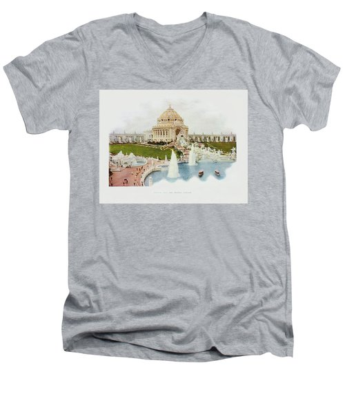 Saint Louis World's Fair Festival Hall And Central Cascade                            Men's V-Neck T-Shirt