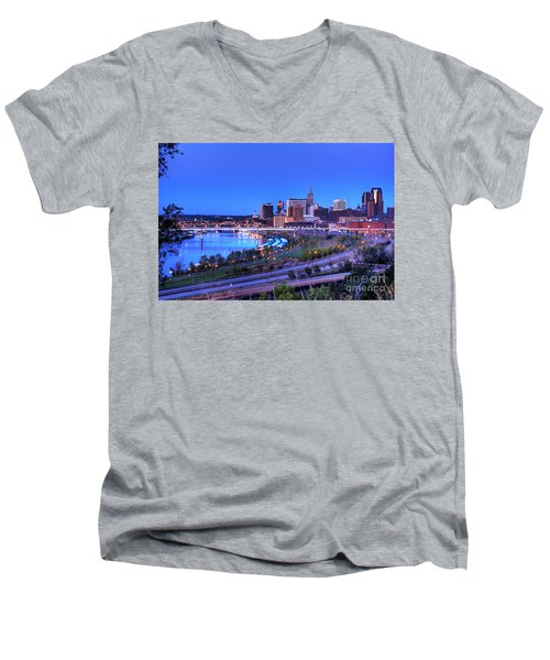 Saint Paul Minnesota Skyline Blue Morning Light Men's V-Neck T-Shirt