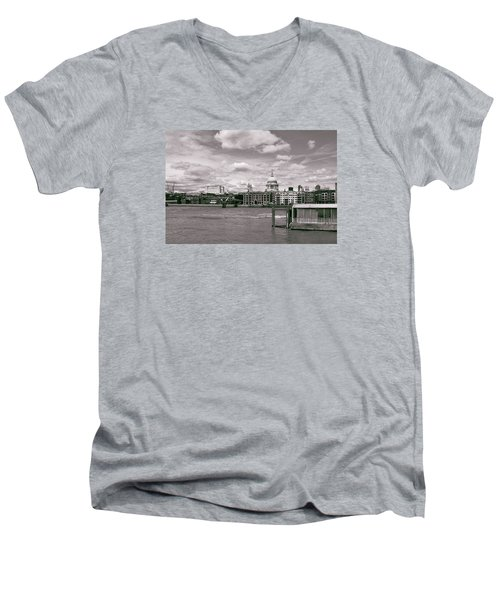 Men's V-Neck T-Shirt featuring the photograph Saint Pauls Cathedral Along The Thames by Nop Briex