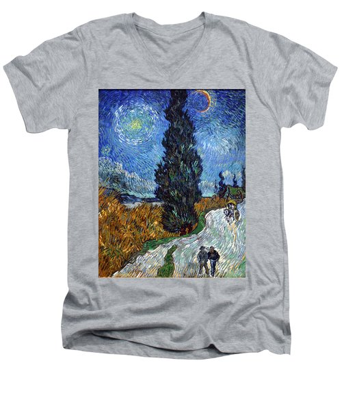 Saint-remy Road With Cypress And Star Men's V-Neck T-Shirt