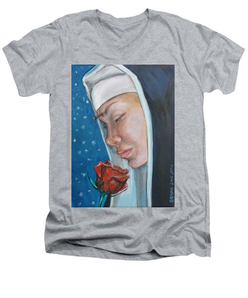 Saint Rita Of Cascia Men's V-Neck T-Shirt
