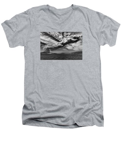 Sakurajima Volcano Men's V-Neck T-Shirt by Hayato Matsumoto