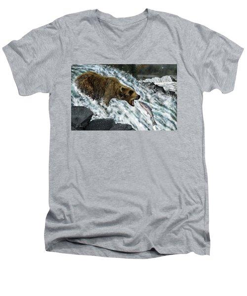 Salmon Fishing Men's V-Neck T-Shirt