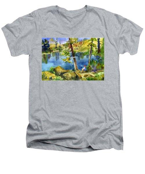Salmon Lake Fisherman Men's V-Neck T-Shirt