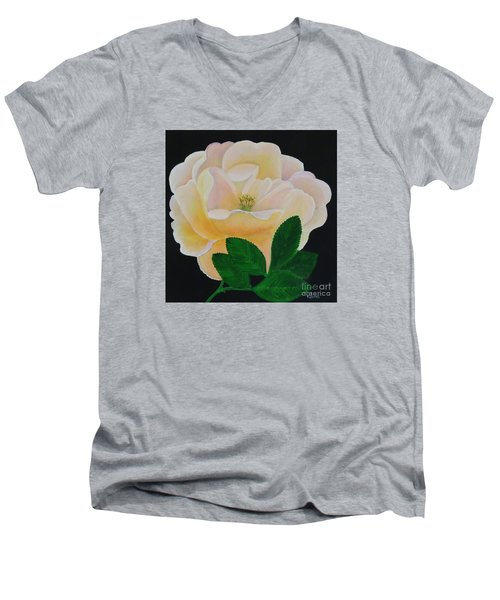 Men's V-Neck T-Shirt featuring the painting Salmon Pink Rose by Karen Jane Jones