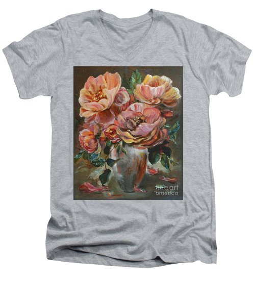 Men's V-Neck T-Shirt featuring the painting Salmon Rose by Ryn Shell