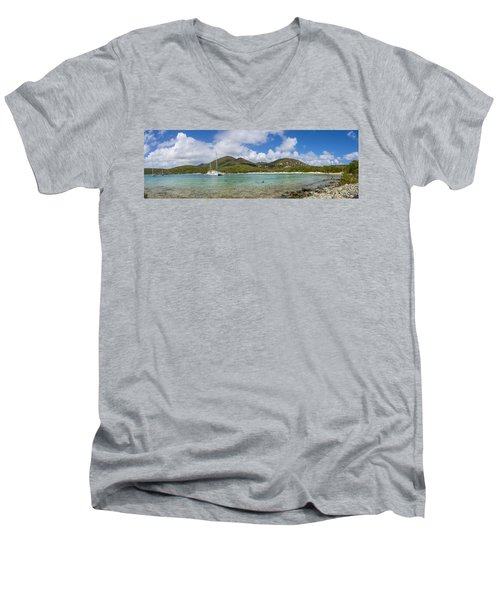 Men's V-Neck T-Shirt featuring the photograph Salt Pond Bay Panoramic by Adam Romanowicz