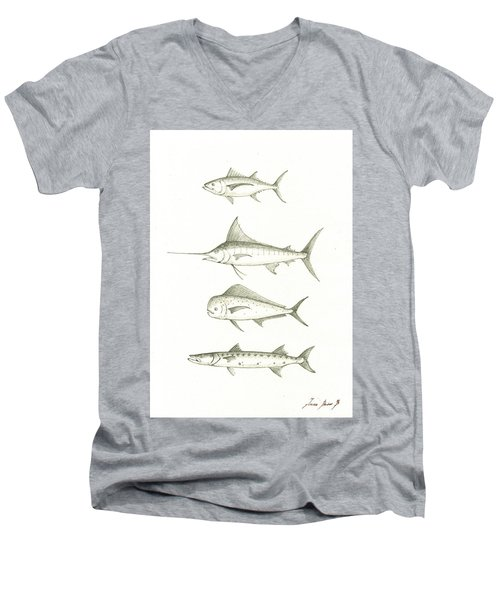 Saltwater Gamefishes Men's V-Neck T-Shirt by Juan Bosco