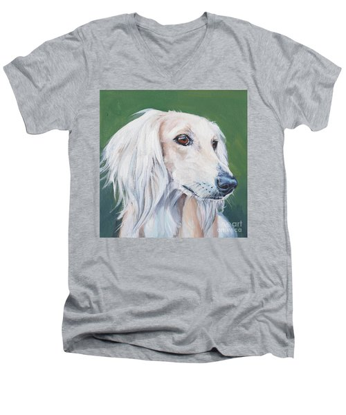 Men's V-Neck T-Shirt featuring the painting Saluki Sighthound by Lee Ann Shepard