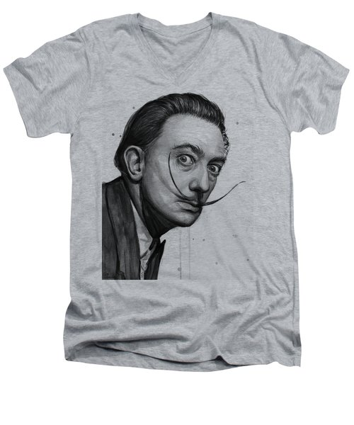 Salvador Dali Portrait Black And White Watercolor Men's V-Neck T-Shirt