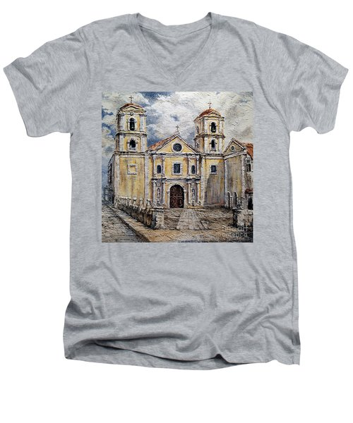 Men's V-Neck T-Shirt featuring the painting San Agustin Church 1800s by Joey Agbayani