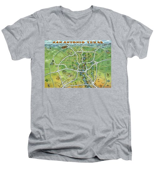 San Antonio Texas Cartoon Map Men's V-Neck T-Shirt by Kevin Middleton