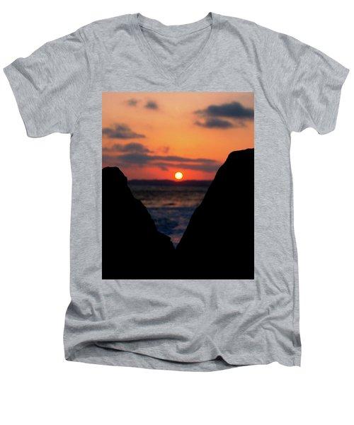 San Clemente Beach Rock View Sunset Portrait Men's V-Neck T-Shirt by Matt Harang