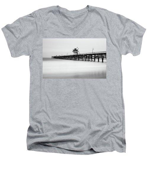 San Clemente Pier Men's V-Neck T-Shirt by Tassanee Angiolillo