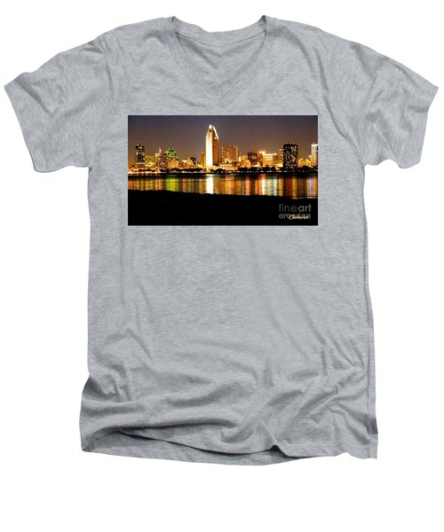 San Diego Skyline With Reflections On Mission Bay Men's V-Neck T-Shirt