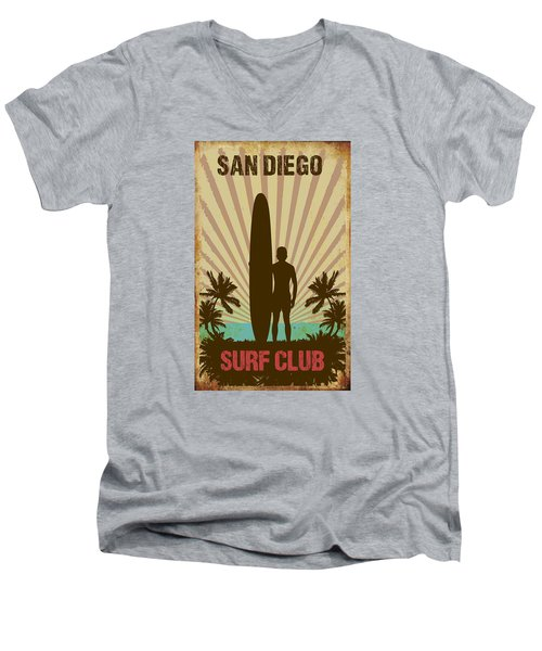 Men's V-Neck T-Shirt featuring the digital art San Diego Surf Club by Greg Sharpe