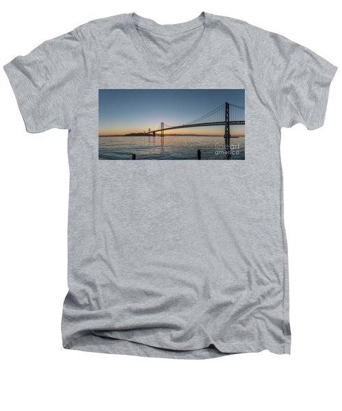 San Francisco Bay Brdige Just Before Sunrise Men's V-Neck T-Shirt