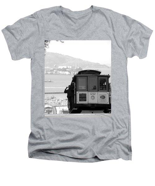 San Francisco Cable Car With Alcatraz Men's V-Neck T-Shirt