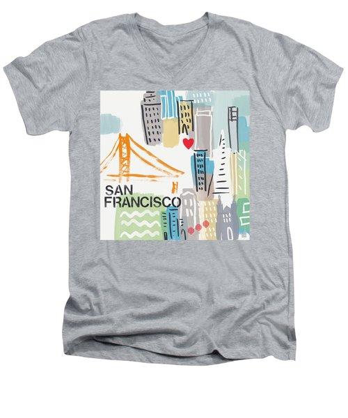 San Francisco Cityscape- Art By Linda Woods Men's V-Neck T-Shirt