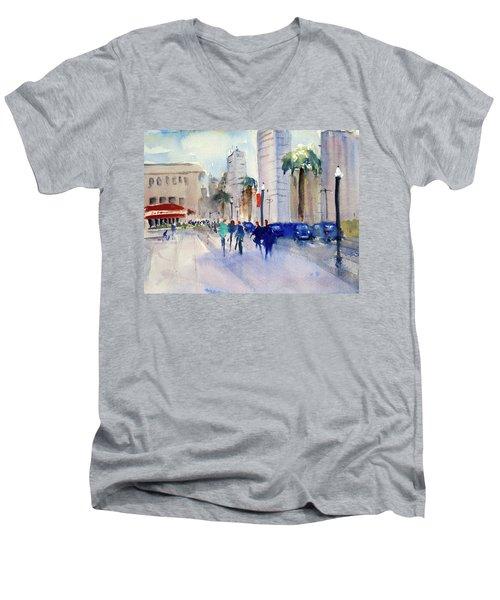San Francisco Embarcadero1 Men's V-Neck T-Shirt by Tom Simmons