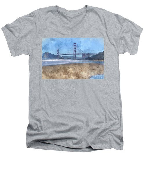 San Francisco Golden Gate Bridge In California Men's V-Neck T-Shirt