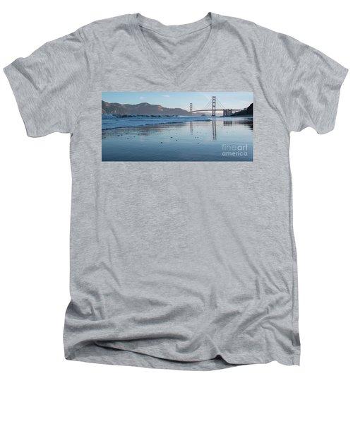 San Francisco Golden Gate Bridge Reflected On Baker's Beach Wet  Men's V-Neck T-Shirt