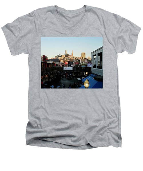 Men's V-Neck T-Shirt featuring the photograph San Francisco In The Sun by Tony Mathews