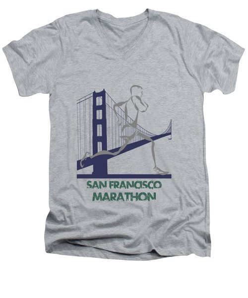 San Francisco Marathon2 Men's V-Neck T-Shirt by Joe Hamilton