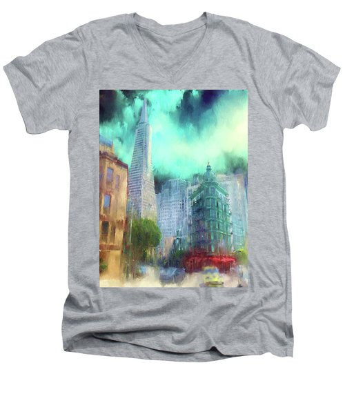 San Francisco Men's V-Neck T-Shirt by Michael Cleere
