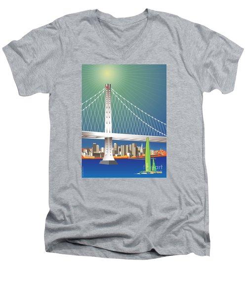 San Francisco New Oakland Bay Bridge Cityscape Men's V-Neck T-Shirt