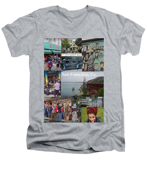 Men's V-Neck T-Shirt featuring the photograph San Francisco Poster by Joan Reese