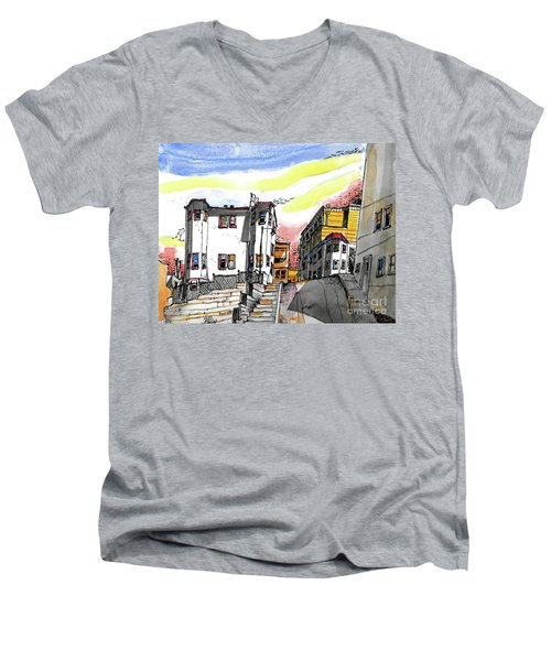 San Francisco Side Street Men's V-Neck T-Shirt by Terry Banderas