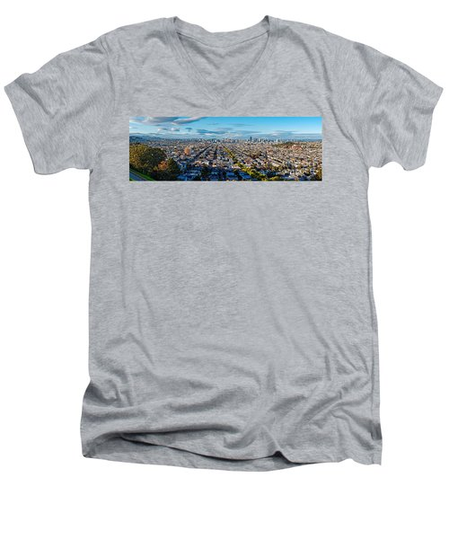 San Francisco Skyline From Bernal Heights Park At Sunset - San Francisco California Men's V-Neck T-Shirt