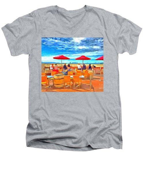 San Francisco Skyline From Alameda  Men's V-Neck T-Shirt by Linda Weinstock