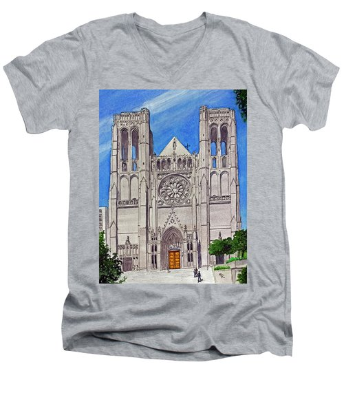San Francisco's Grace Cathedral Men's V-Neck T-Shirt by Mike Robles