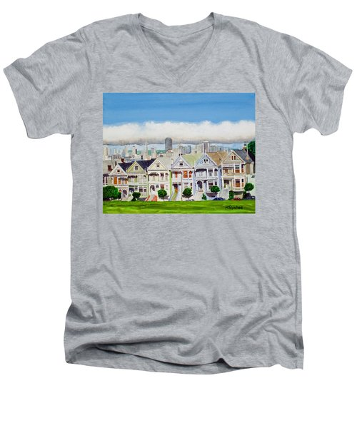 San Francisco's Painted Ladies Men's V-Neck T-Shirt by Mike Robles