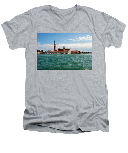 Men's V-Neck T-Shirt featuring the photograph San Giorgio Maggiore Canal Shot by Robert Moss
