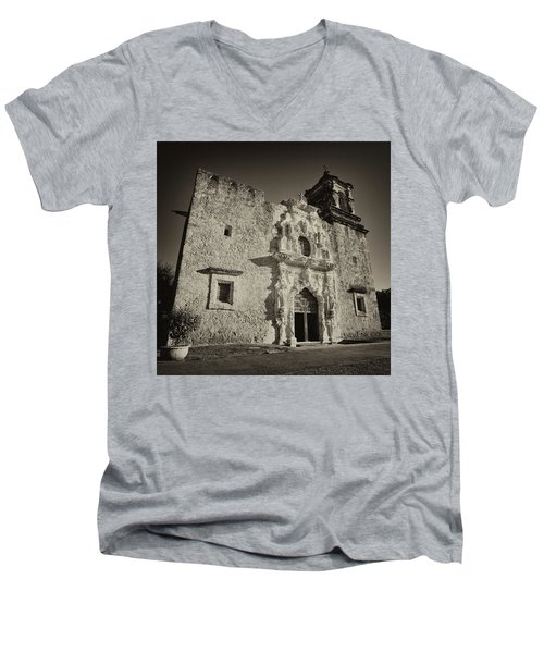 Men's V-Neck T-Shirt featuring the photograph San Jose Mission - San Antonio by Stephen Stookey