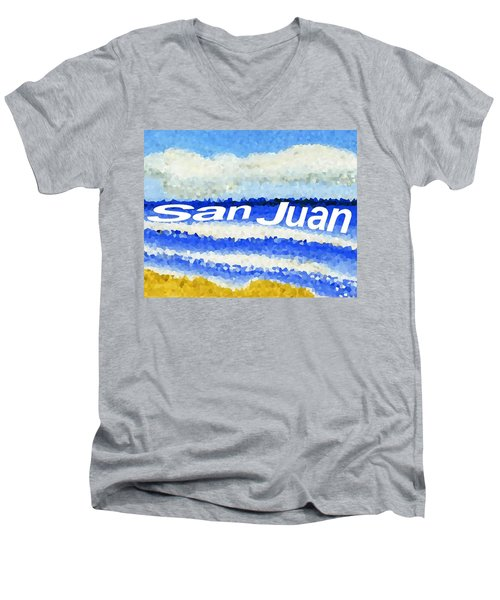 Men's V-Neck T-Shirt featuring the painting San Juan  by Dick Sauer