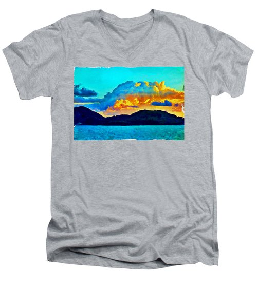Men's V-Neck T-Shirt featuring the painting San Juan Seascape by Joan Reese