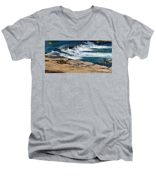 San Marcos River Waterfall  Men's V-Neck T-Shirt by Ray Shrewsberry