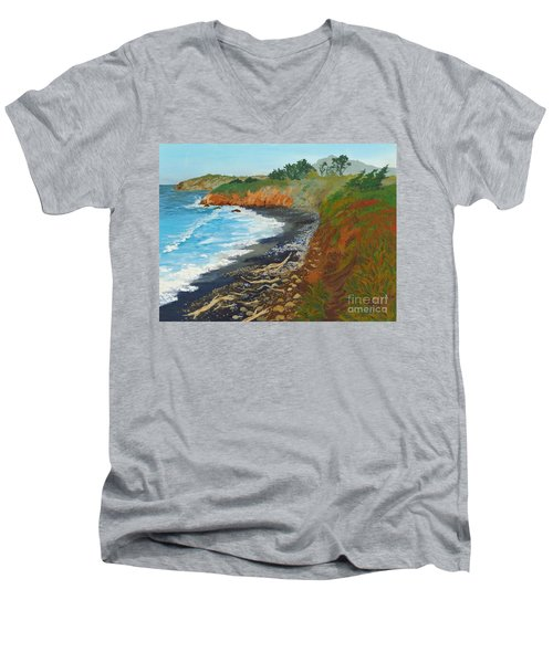 Men's V-Neck T-Shirt featuring the painting San Simeon Ca Coast by Katherine Young-Beck