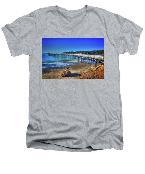 San Simeon Pier California Coast Men's V-Neck T-Shirt by James Hammond